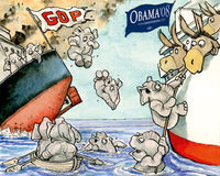 Link to this illustration on The Economist website as well as the article on conservatives abandoning the Republican party to support Obama