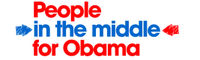 Logo for, and link to, People in the Middle for Obama website